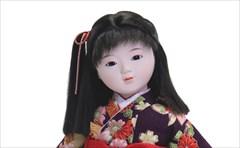 市松人形 小出松寿 特選友禅 紫 桜に鞠