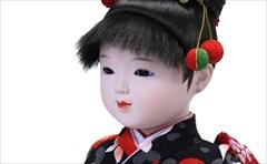 市松人形 小出松寿 八寸 特選友禅 黒 ハートに椿