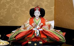 小出松寿作 京十番 和柄にオーガンジー 親王飾